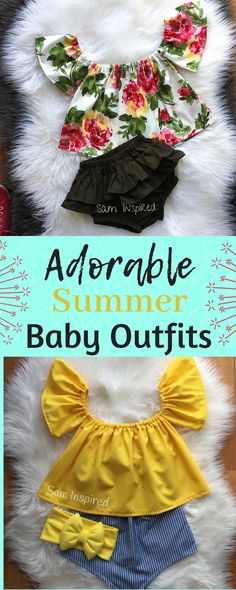 Adorable off the shoulder tops and bloomer sets. Baby Girl Fashion, Kids Fashion, Boy Outfits, Summer Outfits, Little Fashionista, Summer Baby, Little Girl Dresses, My Baby Girl, Baby Sewing