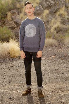 men's MOON sweatshirt SUPER soft raglan by TempleofCairo on Etsy, $48.00