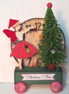 Fairy Christmas RETRO Prim Pull Toy Mixed Media Altered aRt Folk Collage ooak...LOVE this ebay artist!!!