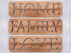 """SLDK313 - Set of """"Home, Family & Love"""" Word Art"""