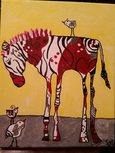 Abstract zebra artwork in acrylic done for my sister-in-law for Christmas By Gail McCann My Sister In Law, Christmas 2016, Moose Art, Bee, Abstract, Gallery, Artwork, Painting, Animals