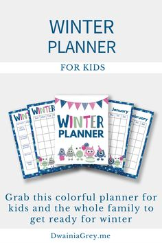 Keep your family organized by planning your family's winter activities. This colorful planner for kids and the whole family to use to plan your winter vacation. Buy Now! #winterplanner Summer Planner, Kids Planner, Weekly Planner, Indoor Activities, Winter Activities, Craft Day, Family Organizer, Me Time, Journal Pages