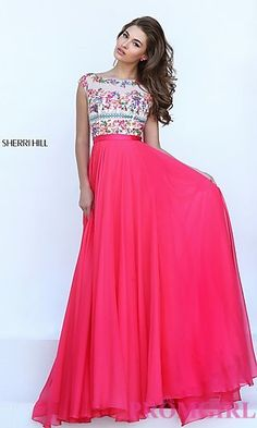 Long Sherri Hill Prom Dress with Embroidered Top at PromGirl.com