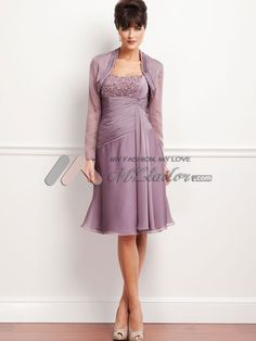 Chiffon ruched beaded knee length dress mother of the bride dress. Love this! Comes in different colors.