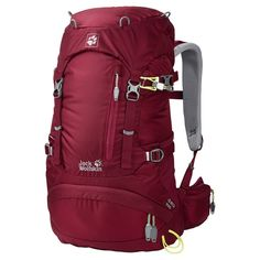 Jack Wolfskin Women's Acs Hike Daypack, Cabernet, 24 L. ACS: flexible, classic suspension system with spacers for effective back ventilation and specially shaped, ergonomic shoulder straps. Adjustable chest strap with signal whistle. Trekking pole attachment. Equipped for a helmet attachment (available separately). Compression straps on sides.