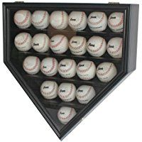 21 Baseball Display Case Holder Cabinet, with 98% UV Protection door, Locks, Black Finish (B21-BLA)