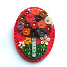 Tree felt brooch with freeform embroidery