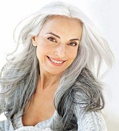 Beautiful gray hair. - I color my hair EVERY 4 weeks- By that time I have about an inch of gray hair at the part- completely gray hair! So I am thinking I should let it grow out and deal w/ it! If it looked like this I would be SOOOO happy with it!!
