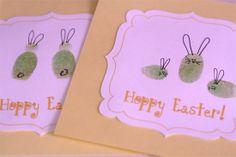 Thumb Print Bunny Easter Cards  Such a cute idea!