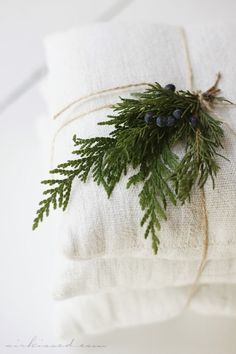 #Juniper sprig on cotton wrapped with string - #Natural #Simplicity