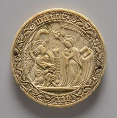 Virgin on right stands before building with desk and book at side; angel kneels with scroll; lily in pot between them; at edge floral scroll and cable border with inscription. Historical Artifacts, Ancient Artifacts, Medieval Art, Renaissance Art, Gothic Mirror, Bone Carving, British Museum, Middle Ages, Illustration Art