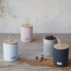 Small Storage Jars - Set of 4 - Concrete - Bamboo Lids Leather Label, Leather Handle, Tea And Coffee Jars, Jar Storage, Small Storage, Kitchen Storage, Earthy Home Decor, Earthy Style, Concrete Pots