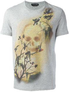 Alexander McQueen camiseta con estampado de calavera y pájaro