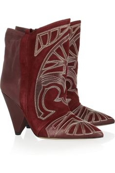 Isabel Marant | Berry suede and leather boots