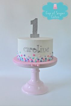 First birthday cake for a girl. Buttercream with fondant hearts. Cup of Sugar Cakes: