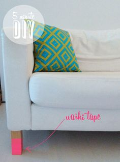 Poppytalk - The beautiful, the decayed and the handmade: Five Minute DIY: Washi Tape Sofa Legs