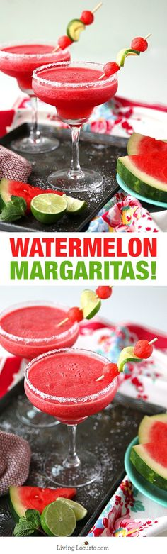 Easy Frozen Watermelon Margaritas! This is THE BEST Margarita Recipe perfect for any party. A refreshing cocktail for a hot summer day. LivingLocurto.com #summercocktails