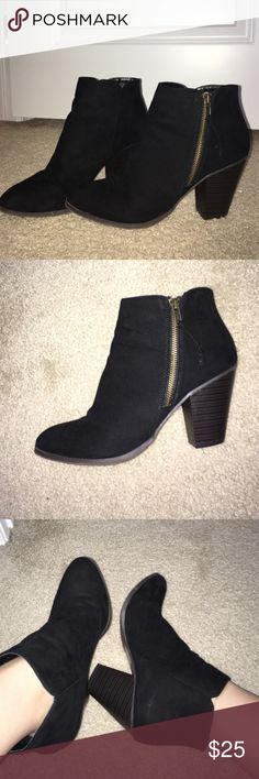 Black ankle booties Bought from Charlotte Russe. Black faux suede ankle booties! Barely worn, great condition, size 8. I would love to keep them but they are too big on me. I have kept great care of them! No marks on them! If you need anymore pictures or have questions just ask!!! Charlotte Russe Shoes Ankle Boots & Booties