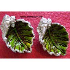 SOLD OUT - Diya Clay Green, Brown, and Silver - Ganpati (www.storeutsav.com) Diya Decoration Ideas, Diy Diwali Decorations, Festival Decorations, Handmade Decorations, Flower Decorations, Decoration Pictures, Diwali Diya, Diwali Craft, Diy Arts And Crafts