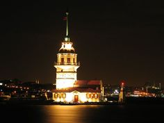 Old kiz kulesi (Maiden's Tower)  known in the ancient Greek and medieval Byzantine periods as Leander's Tower (Tower of Leandros), sits on a small islet located at the southern entrance of Bosphorus strait 200 m (220 yd) off the coast of Üsküdar in Istanbul, Turkey. (Wiki)