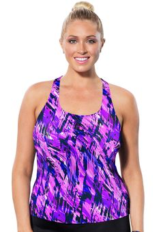 e153e7651a5f5 Aquabelle® Pink Abstract Racerback Tankini Top