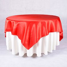red square satin table overlays (FUZZY FABRIC) $3.40 each