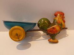 Antique Tin Litho Easter Toy Rooster Pulling Egg Cart Lindstrom 1930s | eBay Easter Toys, 1930s, Rooster, Tin, Cart, Antiques, Ebay, Covered Wagon, Antiquities