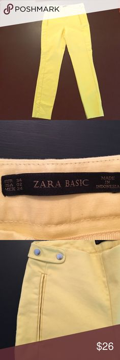 Baby Yellow Zara Cropped Trousers MOVING SALE --- charming baby yellow cropped trousers with beautiful details on the hip. True to size and sit on the waist. I bought these in Madrid summer 2015 and only wore once. Like new!! I believe they didn't bring this model to USA. Zara Pants Ankle & Cropped