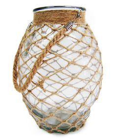 This 9'' Melon Glass Jar with Woven Rope is perfect! #zulilyfinds