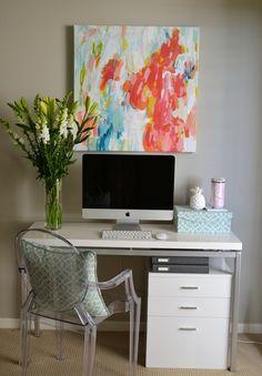 desk // Lucite chair // #desk #workspace