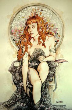 Mosaic art nouveau bohemian girl by Arantza Sestayo!  One of my favorite works! <3