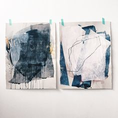 "These paintings are titled ""Nonsense"" + ""Your Belongings"" mixed media on paper, 22"" x 30""  -  Heather Day"
