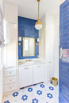 Blue & White Flower Pattern Tile by Mercury Mosaics #bathroomdesignideas