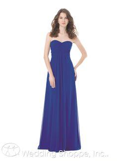 Sleek strapless bridesmaid dress.