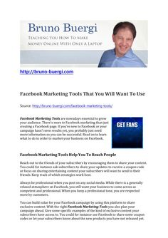 by Bruno Bürgi via Slideshare Create Facebook Page, Facebook Marketing Tools, Make Money Online, How To Make Money, Cool Tools, Growing Your Business, Campaign, Articles, Teaching