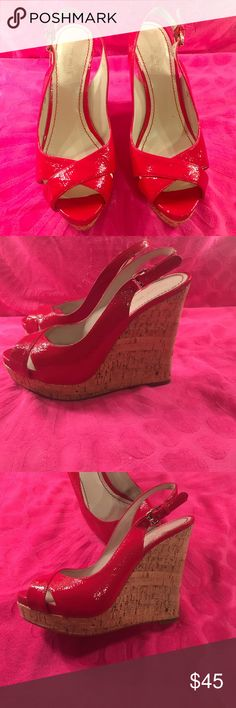 Nine West shoes Bright red wedges. Size 7 1/2, no scratches, smoke free home. ❤️️❤️️❤️️ Nine West Shoes Platforms