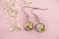 Dangle resin earrings real flowers silver stainless steel | Etsy