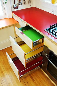 colorful modern kitchen cabinet