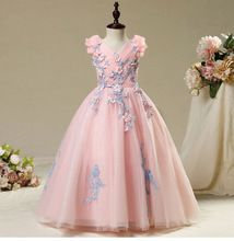 SSYFashion New Sweet Pink Lace Flower Girl Dresses for Wedding The Children's Princess Catwalk V-neck Long Train Party Gowns(China)