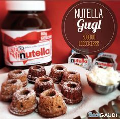 Nutella Gugl If you like Nutella, you have to bake this gugl. They taste great after nut nougat. We had to bake the recipe several times in a row, because the Gugl were faster than we could look. The recipe is sufficient for a mini gugl form: Ingredients: Nutella Muffins, Mini Muffins, Buttercream Cupcakes, Cupcake Cakes, Mini Desserts, Delicious Desserts, Oreo, Baking Recipes, Cake Recipes