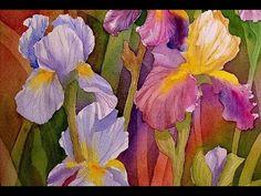 Watercolor painting - Rainbow iris - YouTube