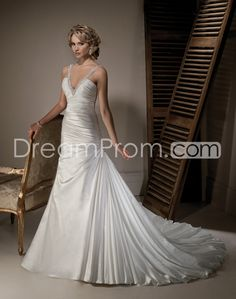 Glorious A-line V-neck Floor-length Chapel Ruched Wedding Dresses
