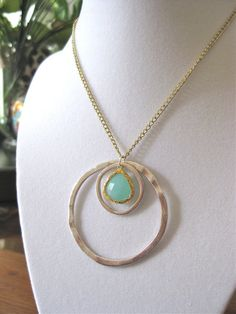 Silver and mint green necklace with gold chain by 10kiaatstreet