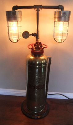 http://www.idecz.com/category/Fire-Extinguisher/ Steampunk Industrial Machine Age Brass Soda Fire Extinguisher Lamp Light & Gauge