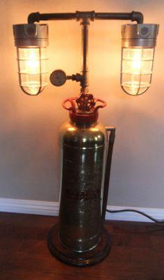 Steampunk Industrial Machine Age Brass Soda Fire Extinguisher Lamp Light & Gauge