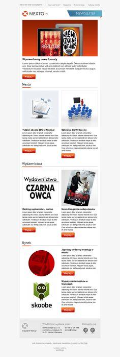 Email marketing oparty o wartościowe treści. Czytelnicy znajdą w newsletterze informacje o nowościach wydawniczych, recenzje, szkolenia oraz techniczne nowinki branżowe. Prezentowany szablon jest akurat wypełniony treściami przykładowymi, ale zdecydowanie warto subskrybować newsletter Nexto.pl.