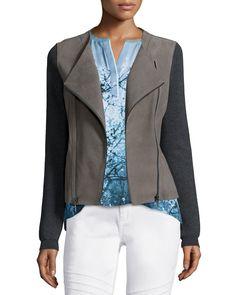 Joplin Leather & Wool Jacket, Women's, Size: XL, Sharkfin - Elie Tahari