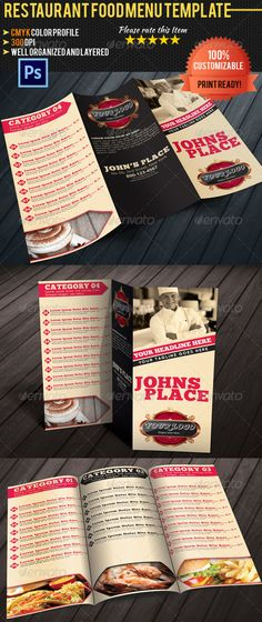 Restaurant and Coffee Bar Menu - Food Menus Print Templates - food menu template