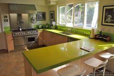 Green Quartz Countertop, Pro Range Hood - Designer Kitchens LA #07 (DesignerKitchensLA.com, Kitchen-Design-Ideas.org)