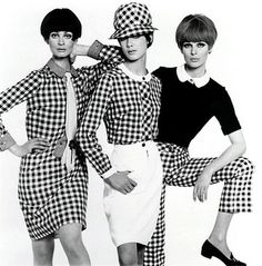 Marie- Lise Gres, Moyra Swann and Paulene Stone in Mix' n' match' gingham outfits, photo John French. London, UK, 1965